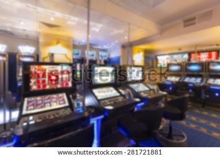 Blurred background, casino interior - stock photo