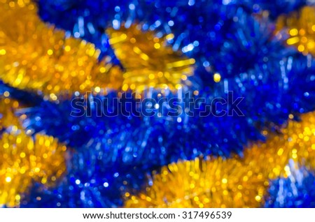 Blurred background. Christmas decorations. tinsel - stock photo