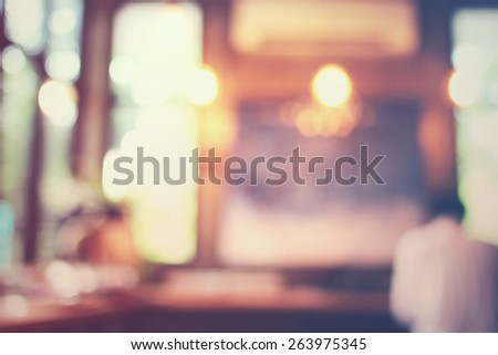 Blurred background : customer at cafe, blur background with bokeh - stock photo