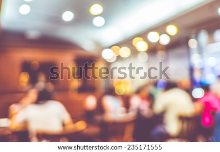 Blurred background : Customer at restaurant blur background with bokeh - stock photo