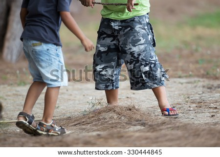 Blurred background from kid playing on ground - stock photo