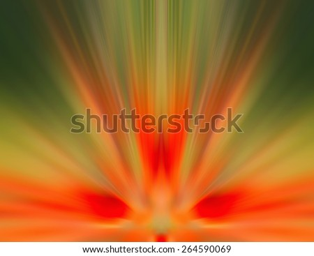 Blurred background image. Abstract image, element flower petals. Beauty of nature. Bright red, yellow, green, orange. Substrate, texts about spring, summer, nature. Effect illustration. Blur radially. - stock photo