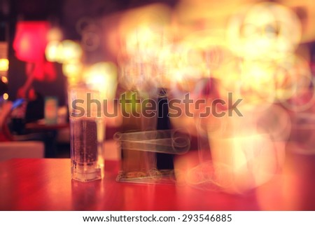 blurred background in restaurant - stock photo