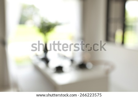 Blurred background, Modern dining room. - stock photo