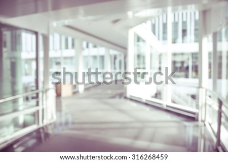 blurred background modern hospital - corridor hallway - stock photo