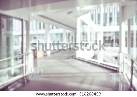blurred background modern hospital - corridor hallway - stock photo