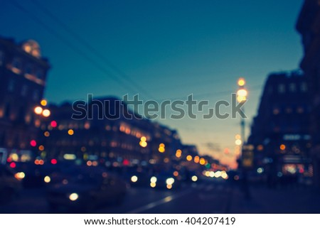 blurred background - night city life, retro style photography