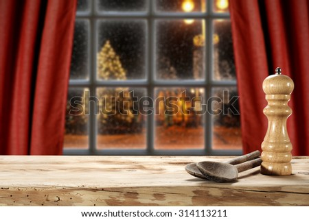 blurred background of a window and salt and spoon