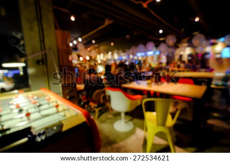 Blurred background of an underground pub or restaurant - stock photo