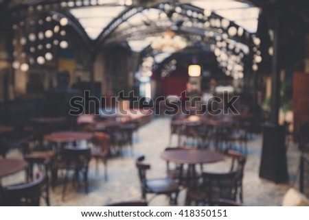 Blurred background of cafe interior