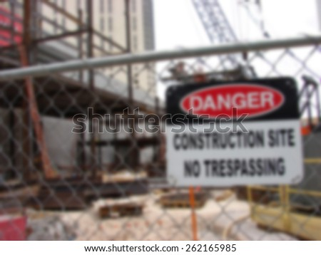 blurred background of construction site                                - stock photo