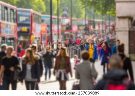 Blurred background of crowded street in London - stock photo