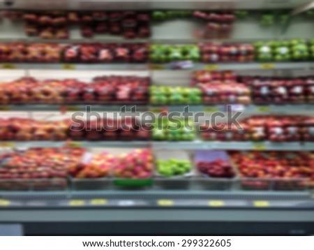 blurred background of fruit shelf at the supermarket - stock photo