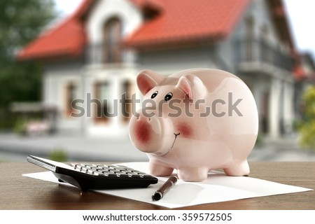 blurred background of home and money  - stock photo