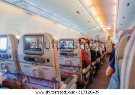 Blurred background of  interior aircraft , luggage cabin . - stock photo