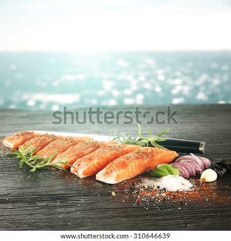 blurred background of sea and red meat of fish  - stock photo