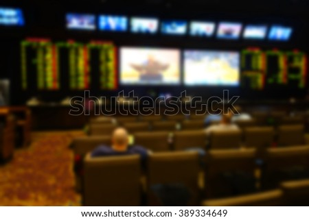 blurred background of sports book in casino