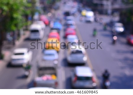 Blurred background of traffic jam