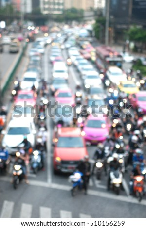 Blurred background of traffic jam, cars, struck,motorcycle in traffic,Len flares effect.