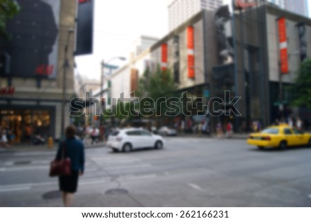 blurred background of urban city life