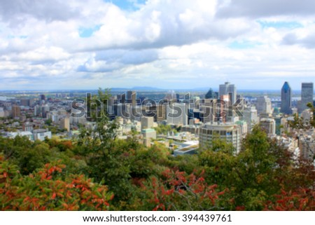 Blurred background of view of Montreal, Quebec from Parc du Mont-Royal. - stock photo