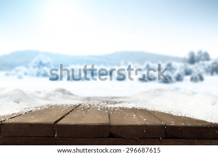 blurred background of winter landscape of blue color with free space on board of snow and frost  - stock photo