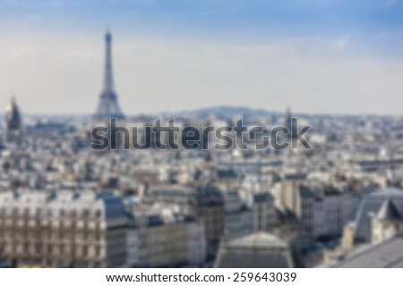 Blurred background: panorama of Paris from Cathedral Notre Dame de Paris. France. - stock photo