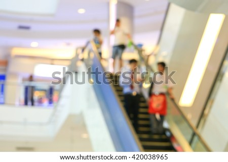 Blurred background People in escalators at the modern shopping mall. - stock photo