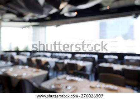 Blurred background,restaurant interior. - stock photo