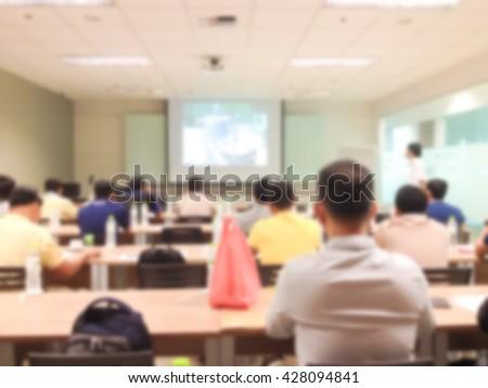 Blurred background speaker talk at seminar room.Business concept.business background.business training.business meeting.business seminar.business strategy.business solution.business student. - stock photo