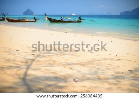 Blurred Background: Summer Beach on Paradise Island - stock photo