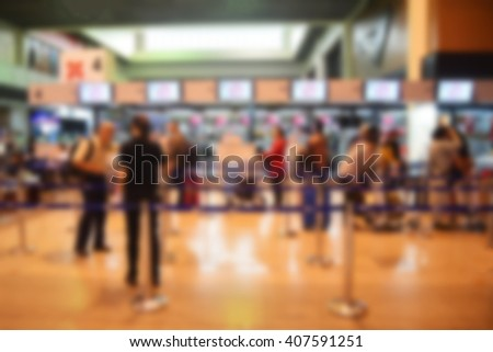 Blurred background : Terminal Departure Check-in at airport - stock photo