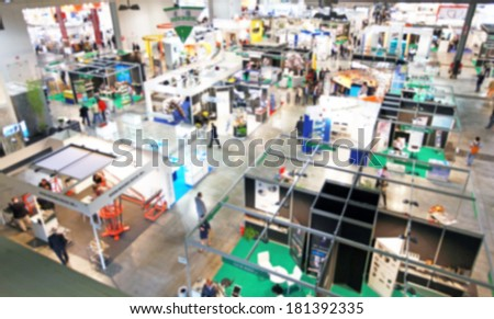 Blurred background, trade show area - stock photo