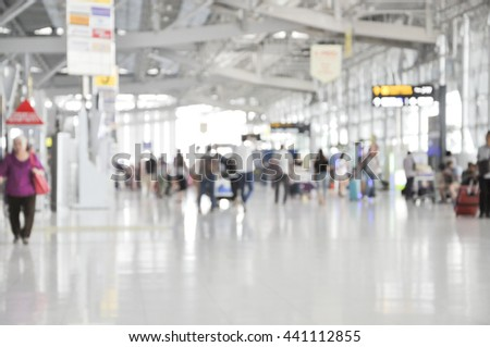 Blurred background, Traveler at airport terminal blur background - stock photo