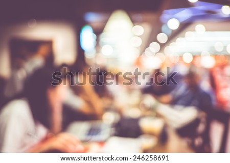 Blurred background : Vintage filter ,Customer in Coffee shop blur background with bokeh - stock photo