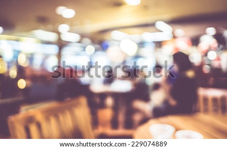Blurred background : Vintage filter ,People in Coffee shop blur background with bokeh - stock photo