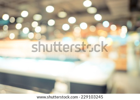 Blurred background : Vintage filter Supermarket store blur background with bokeh - stock photo