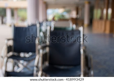 blurred background Wheelchair for hospital patients, Wheelchairs for the Disabled, wheelchair access, Wheelchair Hospital,row, Wheelchair parked in a row, Transporting patient - stock photo