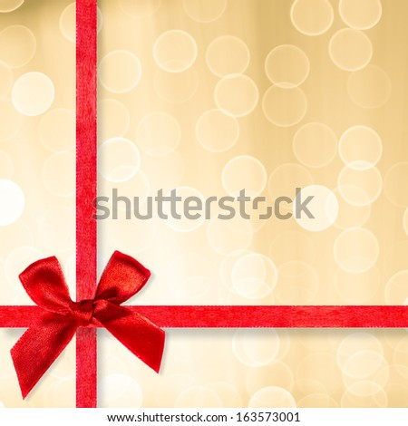 Blurred background with red ribbon - stock photo