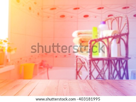 Blurred bathroom in soft colors. Bathroom with wooden background. Modern bathroom interior - stock photo