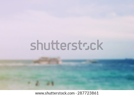 Blurred beach background with retro filter style, summer concept - stock photo