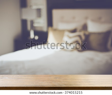 Blurred Bedroom with Bed and Nightstand with Reto Instagram Style Filter