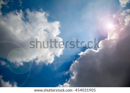 Blurred blue sky with clouds