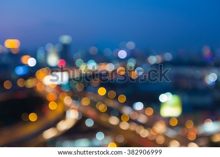 Blurred bokeh light city highway interchanged night view - stock photo