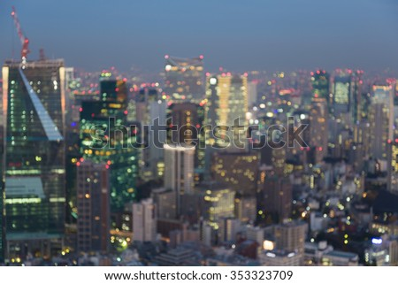 Blurred bokeh lights Tokyo city downtown background, Japan