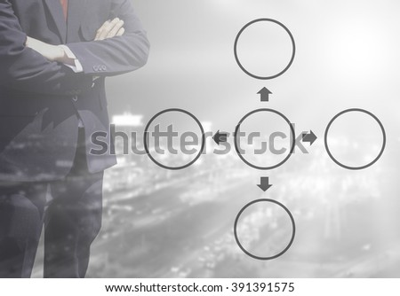 Blurred Business man with life or business Improvement cycle concept, core value cycle on blur or blurred night city view white and black tone background with corner light flare.four cycle concept. - stock photo