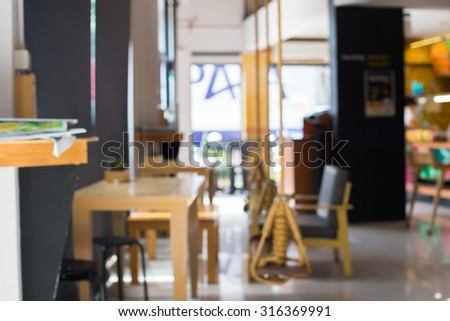 Blurred cafe restaurant with bokeh background