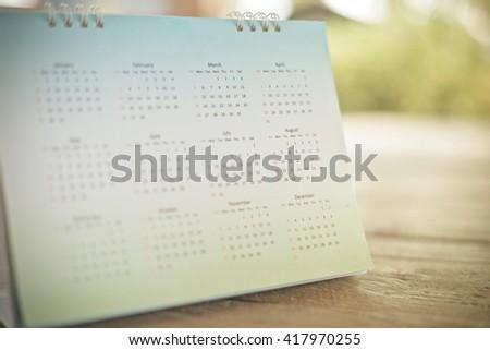 Blurred calendar page blur background. - stock photo