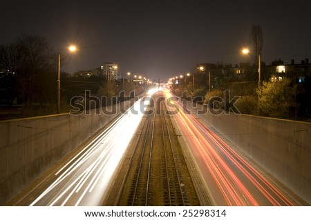Blurred car motion by night