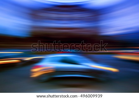 blurred car on the road in speed,night road